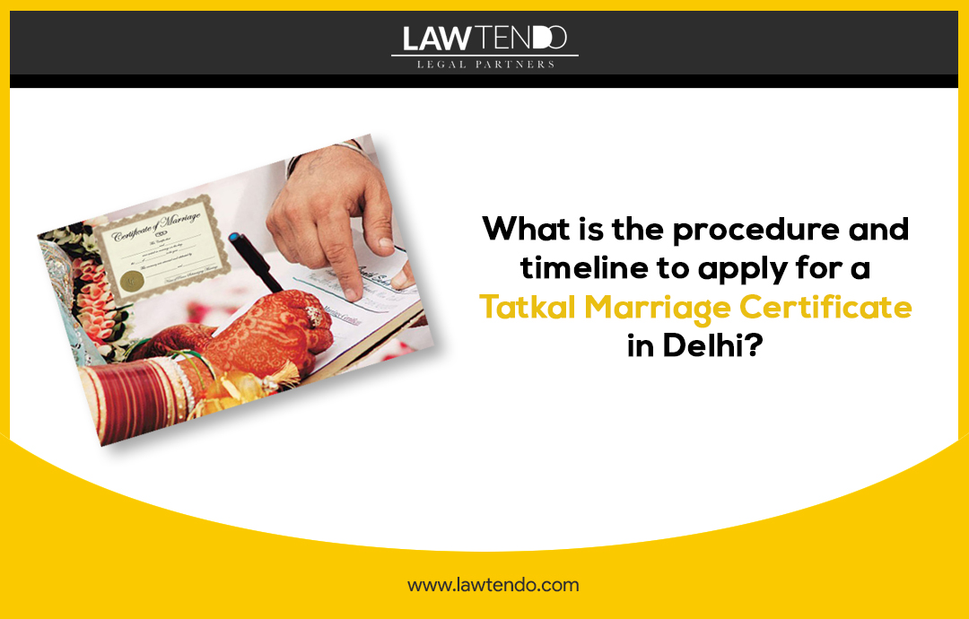What is the procedure and timeline to apply for a tatkal marriage certificate in Delhi?